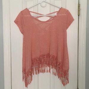 MINE - light pink crop top - lace fringe - Medium